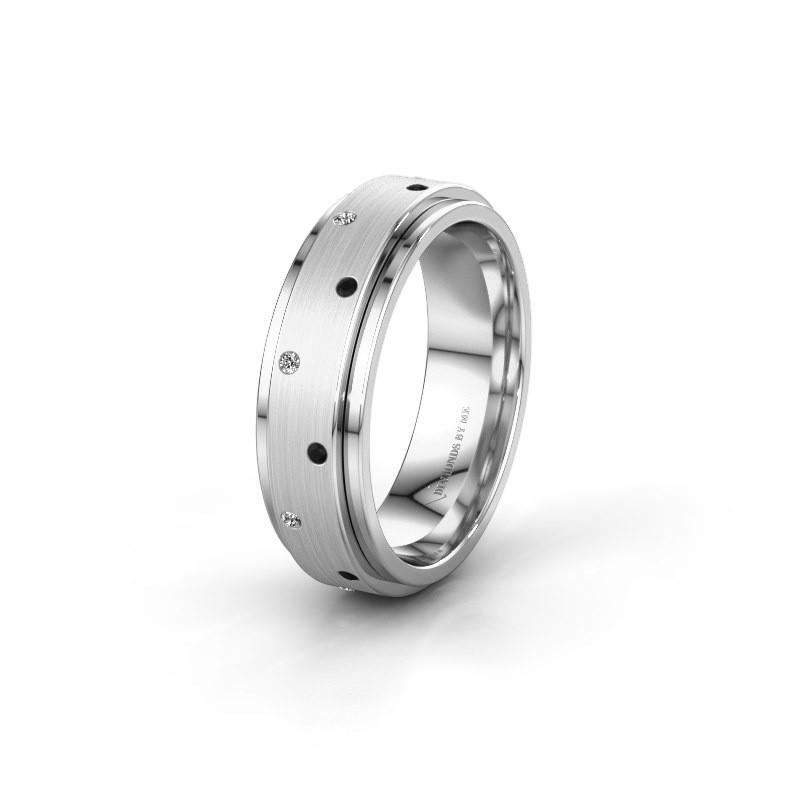 Trouwring WH2134L 950 platina zwarte diamant ±6x2.2 mm