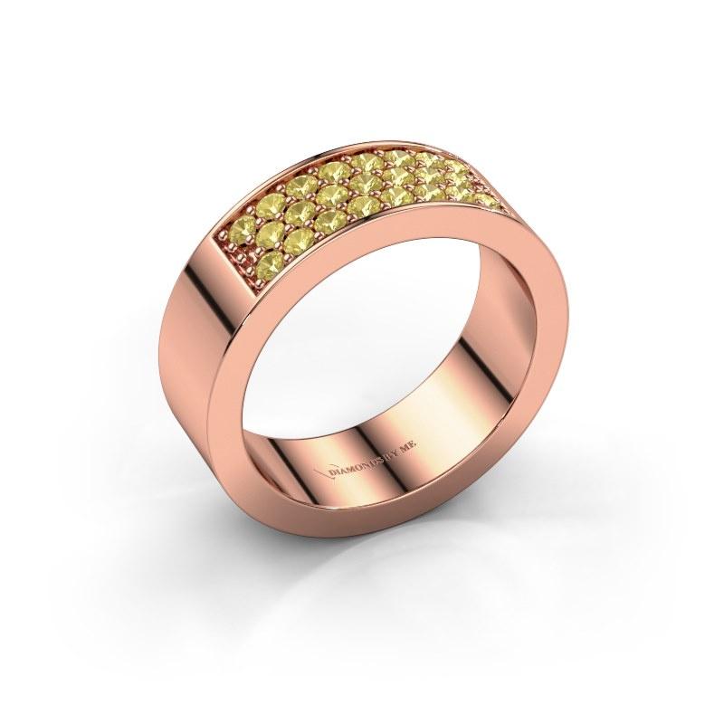 Ring Lindsey 5 585 rosé goud gele saffier 1.7 mm