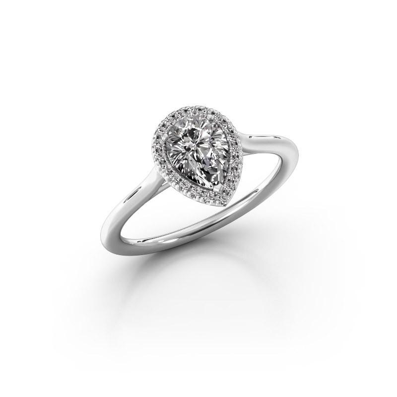 Engagement ring Monique 1 585 white gold zirconia 7x5 mm