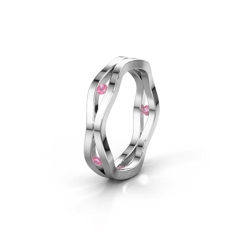 Trouwring WH2122L 585 witgoud roze saffier ±5x1.8 mm