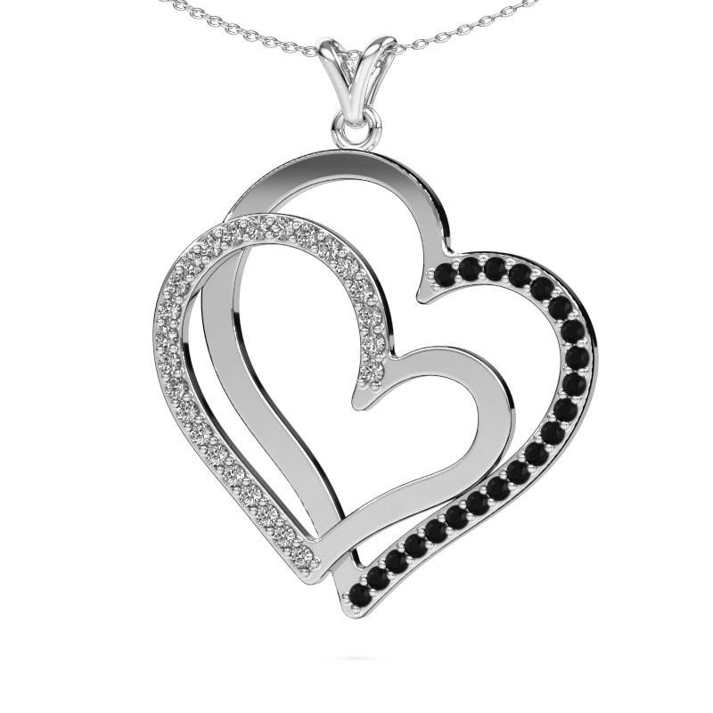 Halsketting Cathy 925 zilver zwarte diamant 1.255 crt