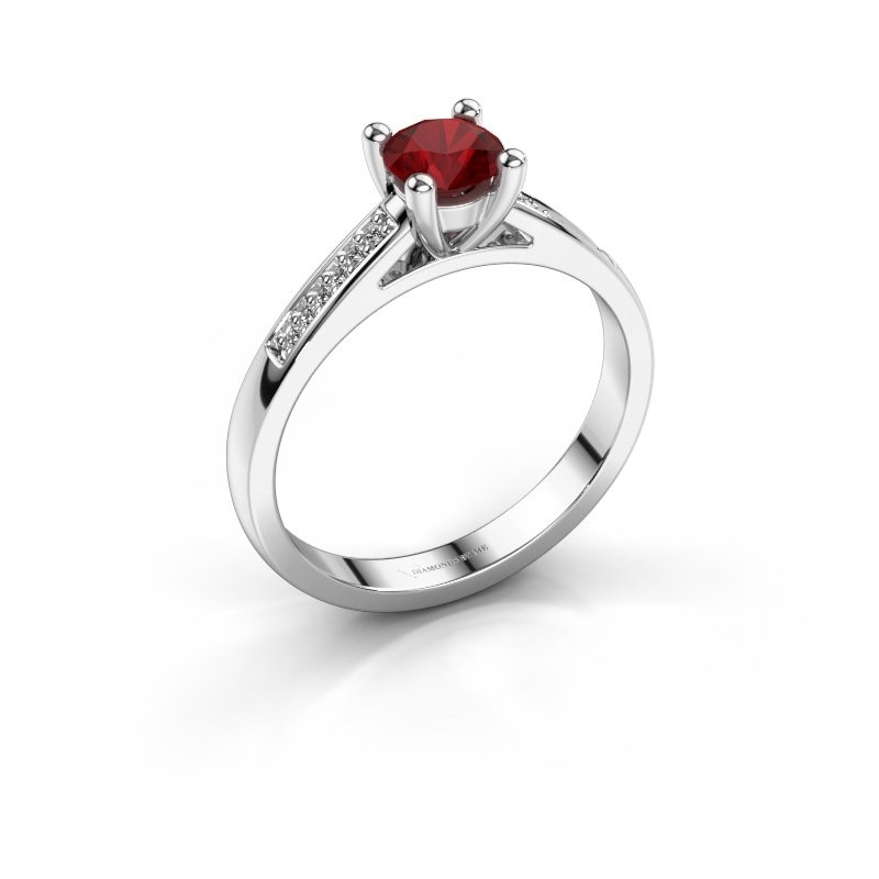 Engagement ring Nynke 585 white gold ruby 4.7 mm