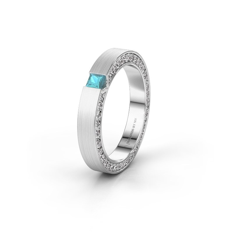 Wedding ring WH2140L14B 950 platinum blue topaz ±3,5x2 mm