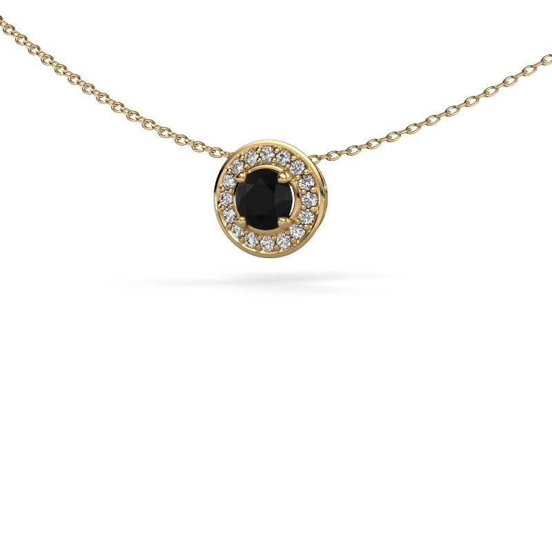 Hanger Agaat 375 goud zwarte diamant 0.76 crt