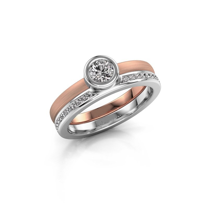 Bague Cara 585 or rose diamant synthétique 0.62 crt