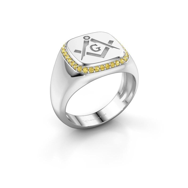Men's ring Johan 375 white gold yellow sapphire 1.2 mm