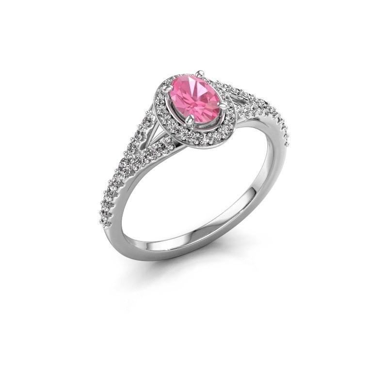 Belofte ring Pamela OVL 585 witgoud roze saffier 7x5 mm