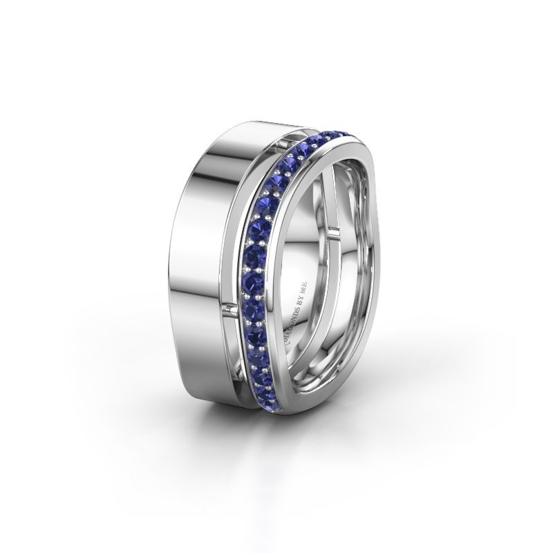 Weddings ring WH6008L18BP 925 silver sapphire ±10x2 mm