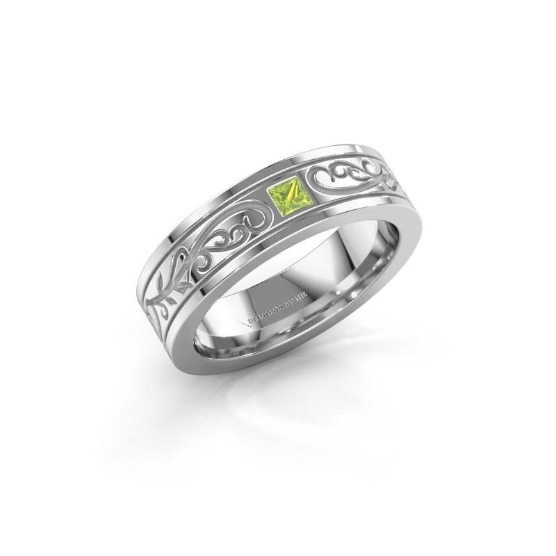 Men's ring Matijs 950 platinum peridot 3 mm