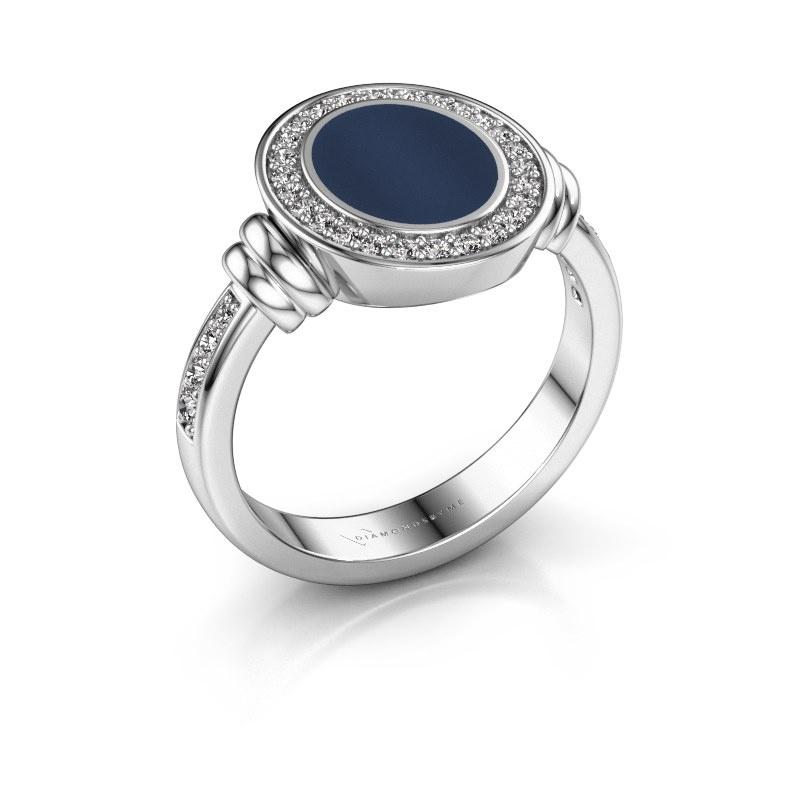 Zegelring Bailey 950 platina donker blauw lagensteen 10x8 mm