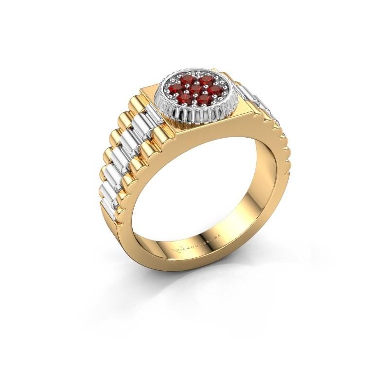 Heren ring Nout 585 goud granaat 2 mm