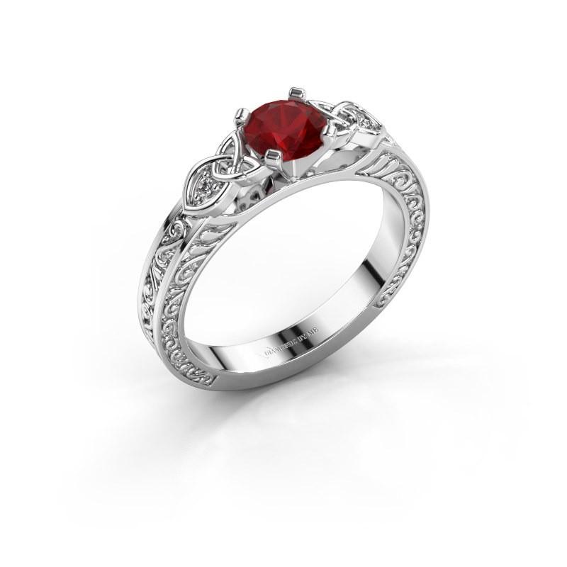 Engagement ring Gillian 585 white gold ruby 5 mm