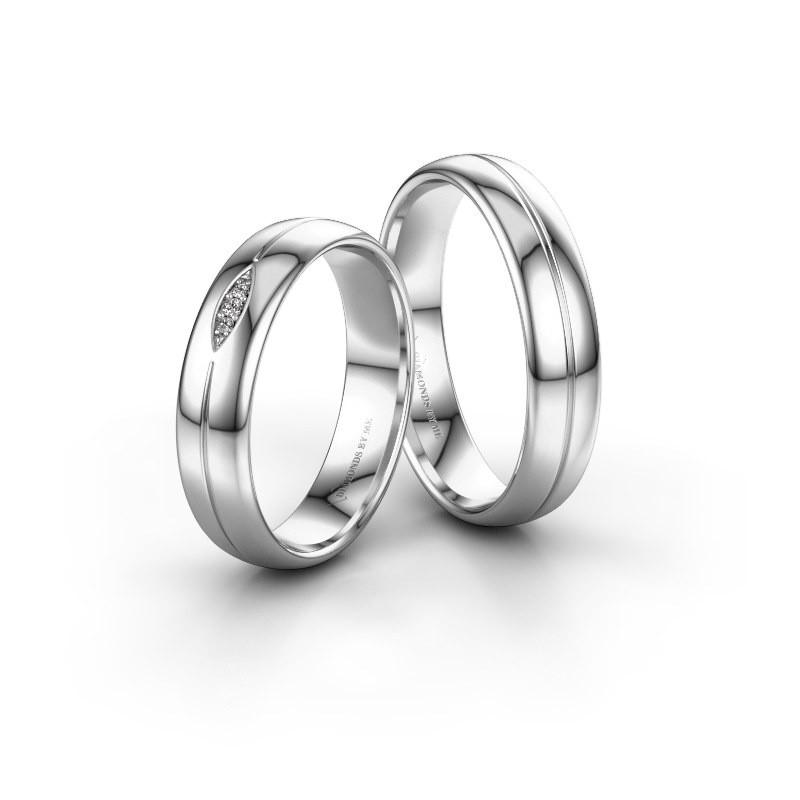 Huwelijksringen set WH0219LM35XP ±5x1.5 mm 14 karaat witgoud diamant 0.008 crt