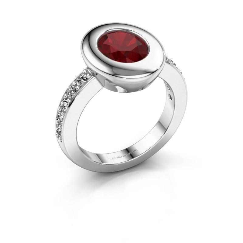 Ring Selene 2 950 platina robijn 9x7 mm