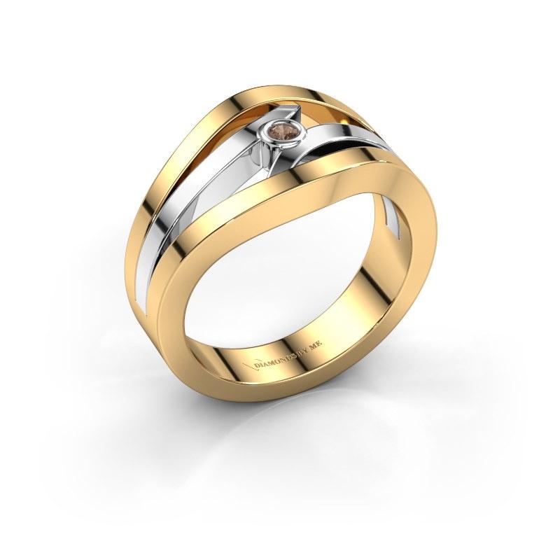 Bague Carlijn 585 or jaune diamant brun 0.03 crt