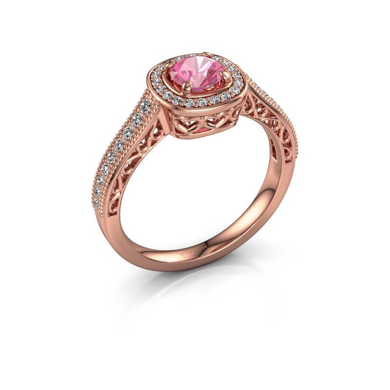 Verlovings ring Candi 375 rosé goud roze saffier 5 mm