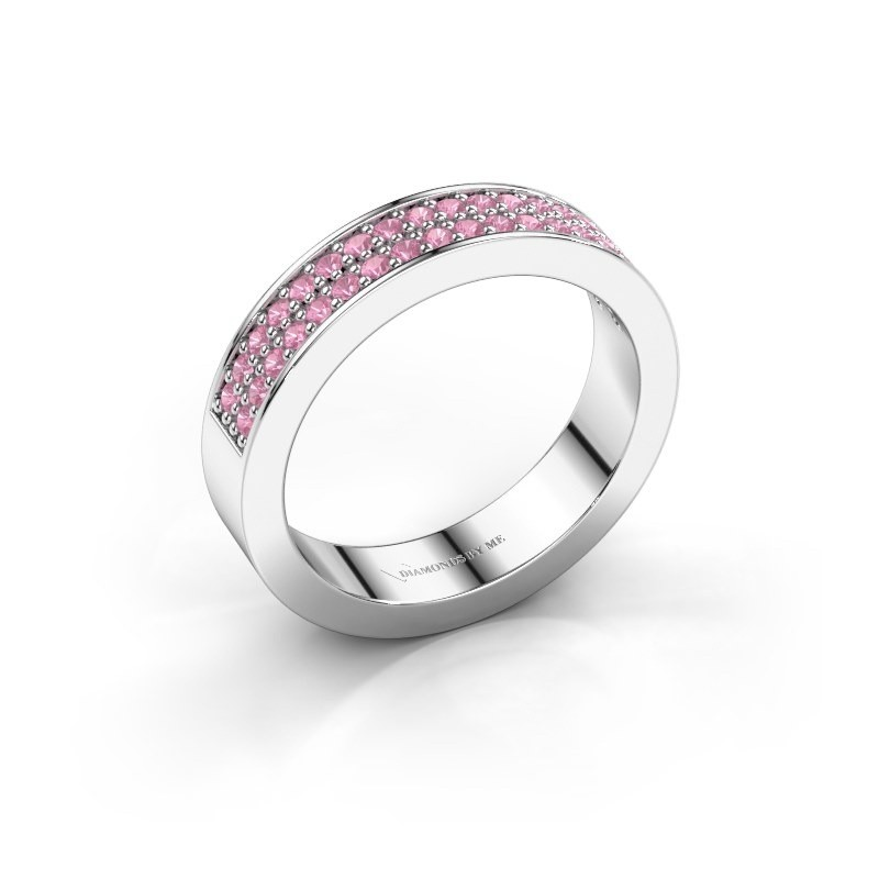 Stackable ring Catharina 4 585 white gold pink sapphire 1.3 mm