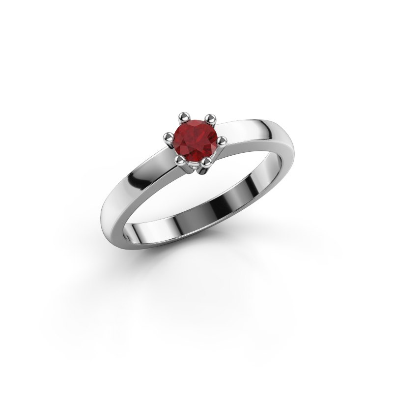 Engagement ring Luna 1 585 white gold ruby 3.7 mm