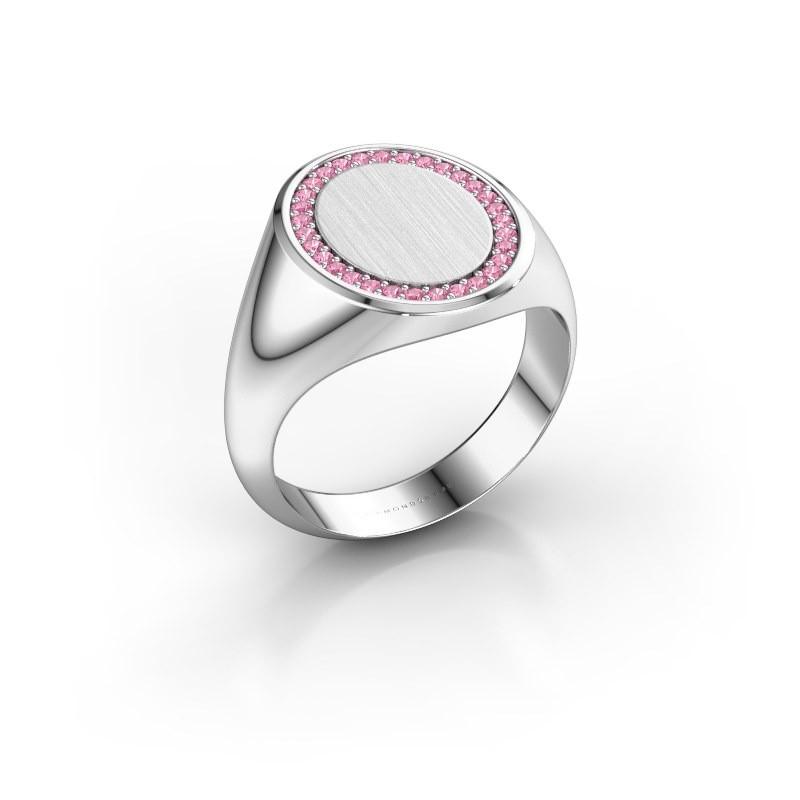 Heren ring Floris Oval 4 950 platina roze saffier 1.2 mm