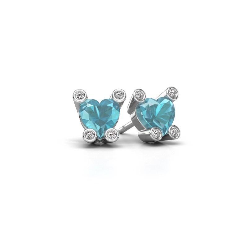 Oorstekers Cornelia Heart 375 witgoud blauw topaas 6 mm