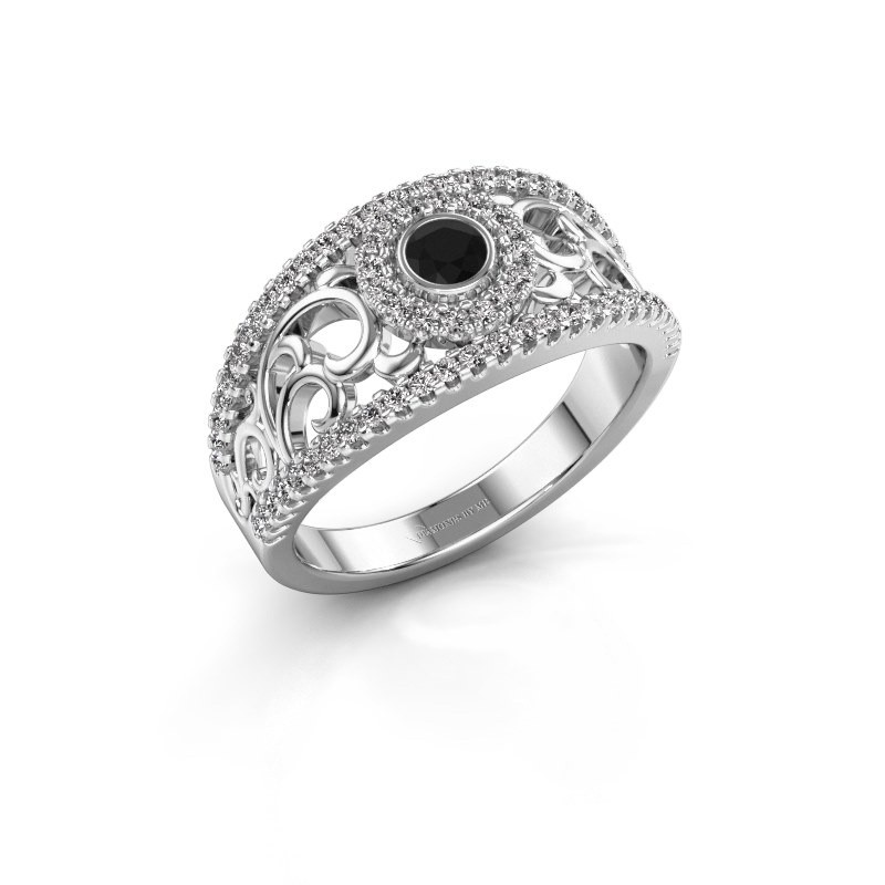 Verlovingsring Lavona 585 witgoud zwarte diamant 0.53 crt