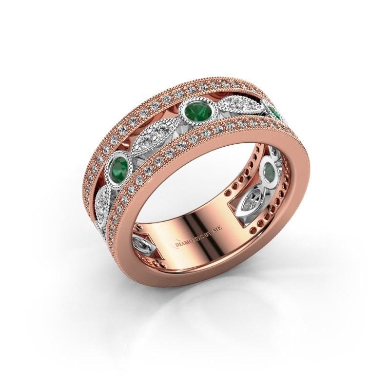 Ring Jessica 585 rosé goud smaragd 2.5 mm