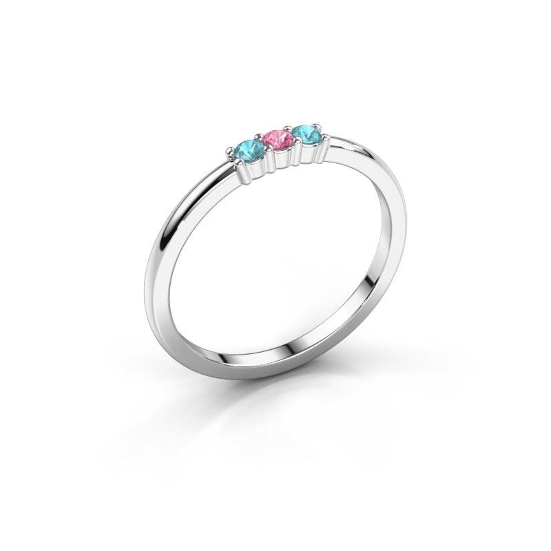 Verlovings ring Yasmin 3 925 zilver roze saffier 2 mm