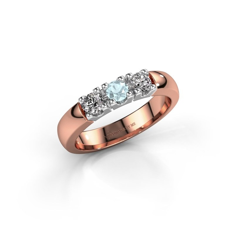 Engagement ring Rianne 3 585 rose gold aquamarine 3.4 mm