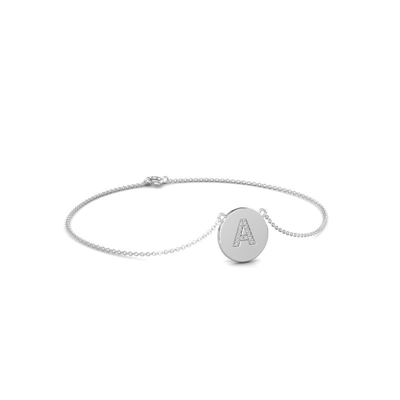 Armband Initial 050 375 witgoud lab-grown diamant 0.07 crt