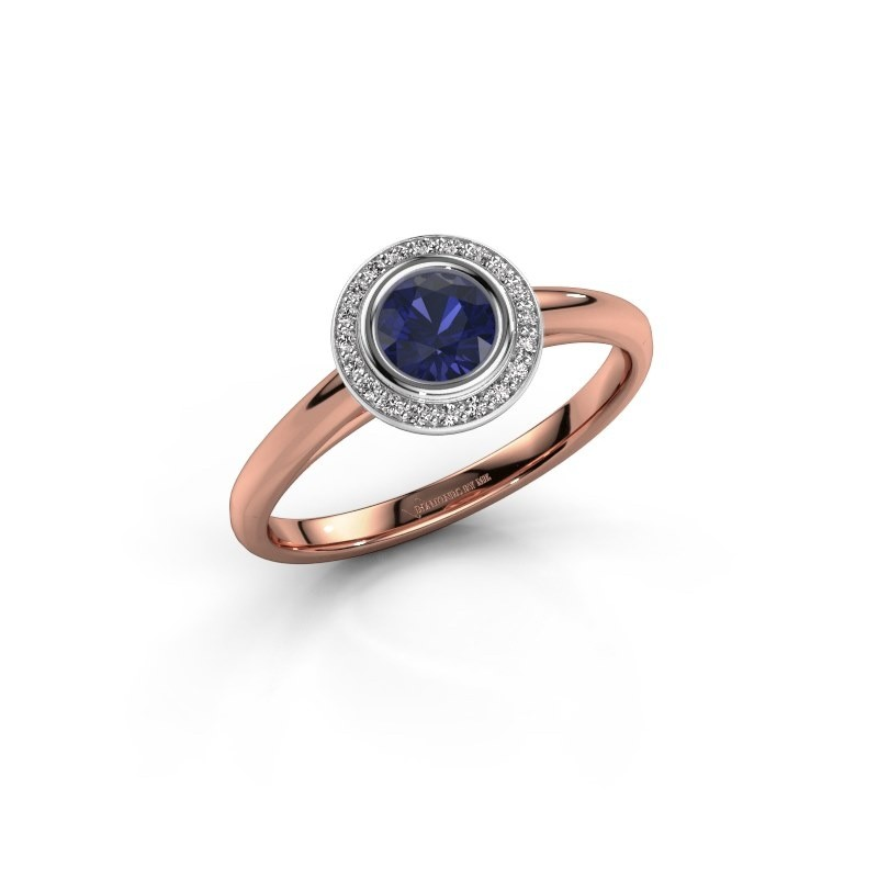 Promise ring Noud 1 RND 585 rose gold sapphire 4.7 mm