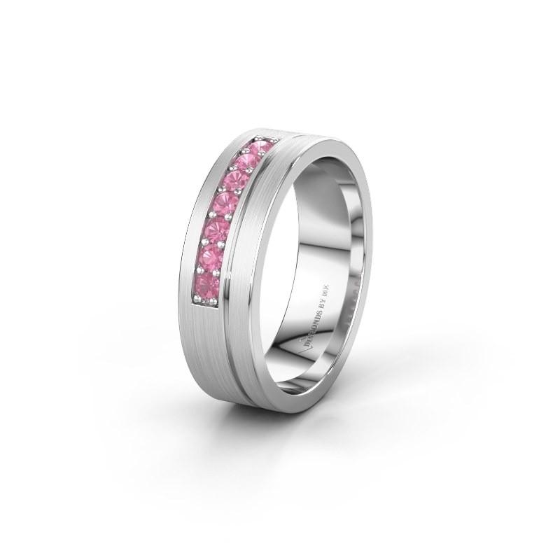 Trouwring WH0312L16AM 950 platina roze saffier ±6x1.7 mm