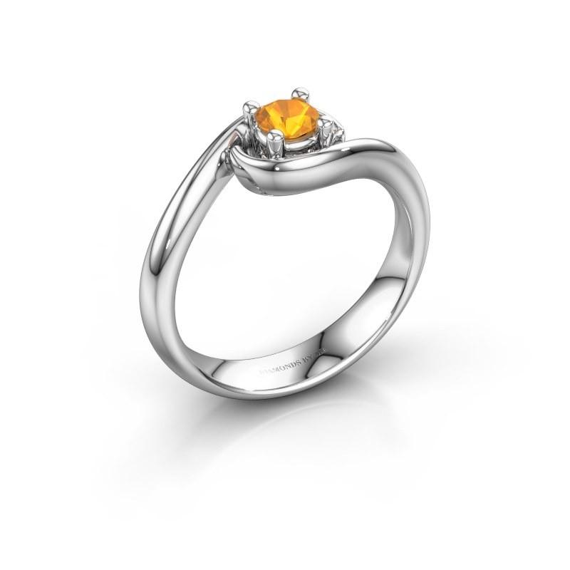 Ring Linn 585 Weißgold Citrin 4 mm