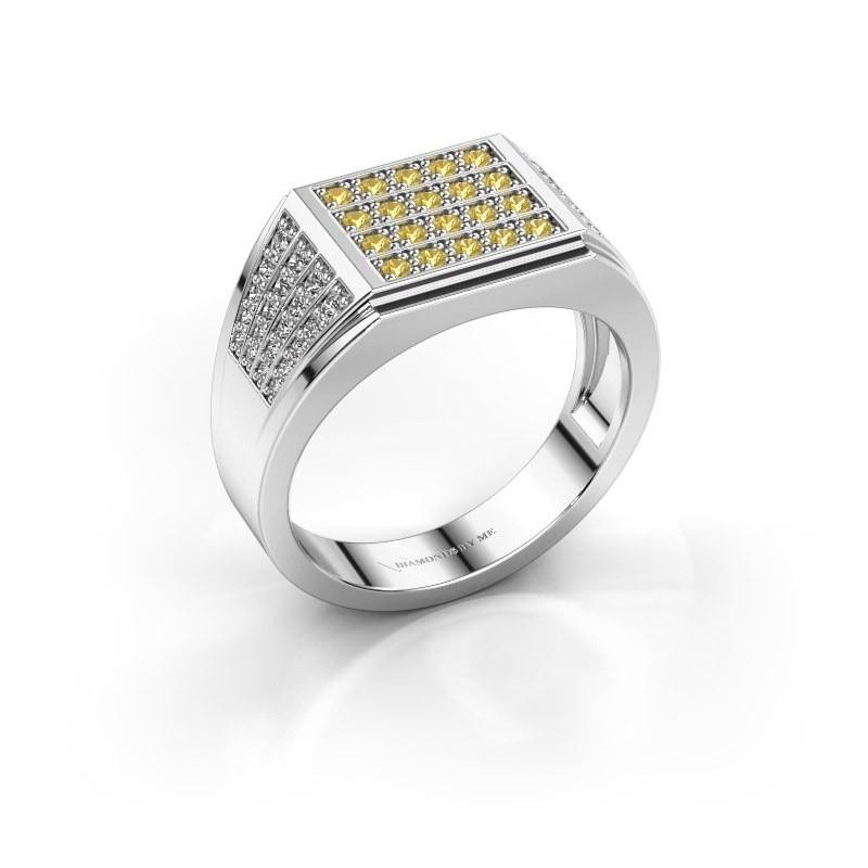 Men's ring Tim 585 white gold yellow sapphire 1.5 mm