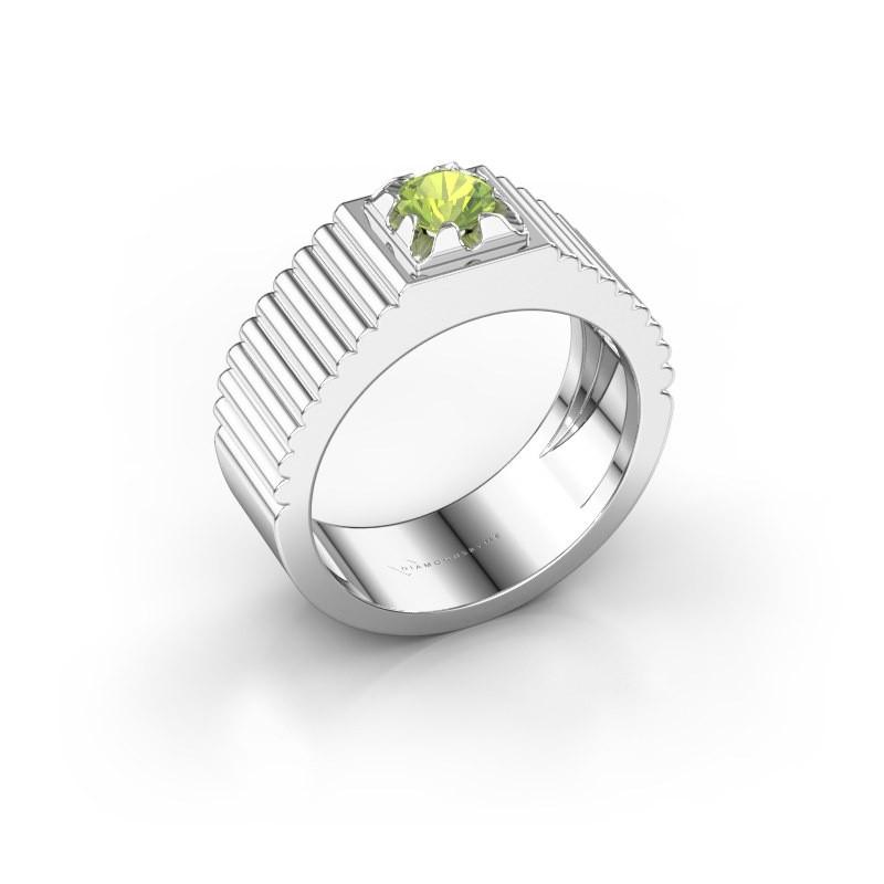 Pink ring Elias 950 platina peridoot 5 mm