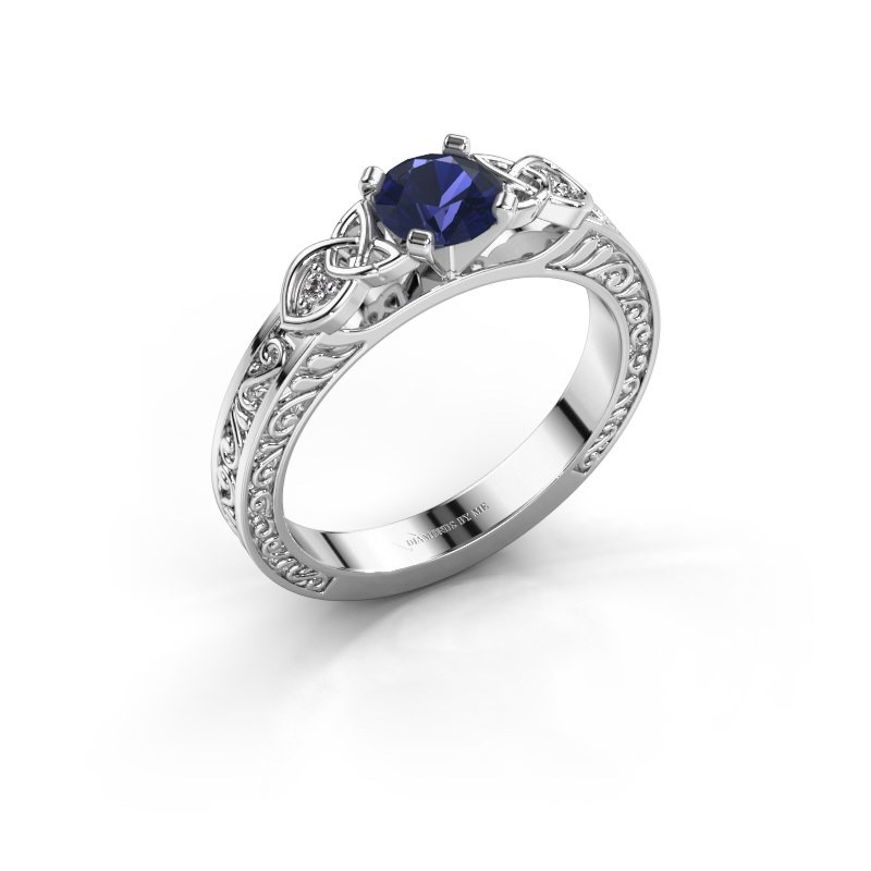Engagement ring Gillian 585 white gold sapphire 5 mm