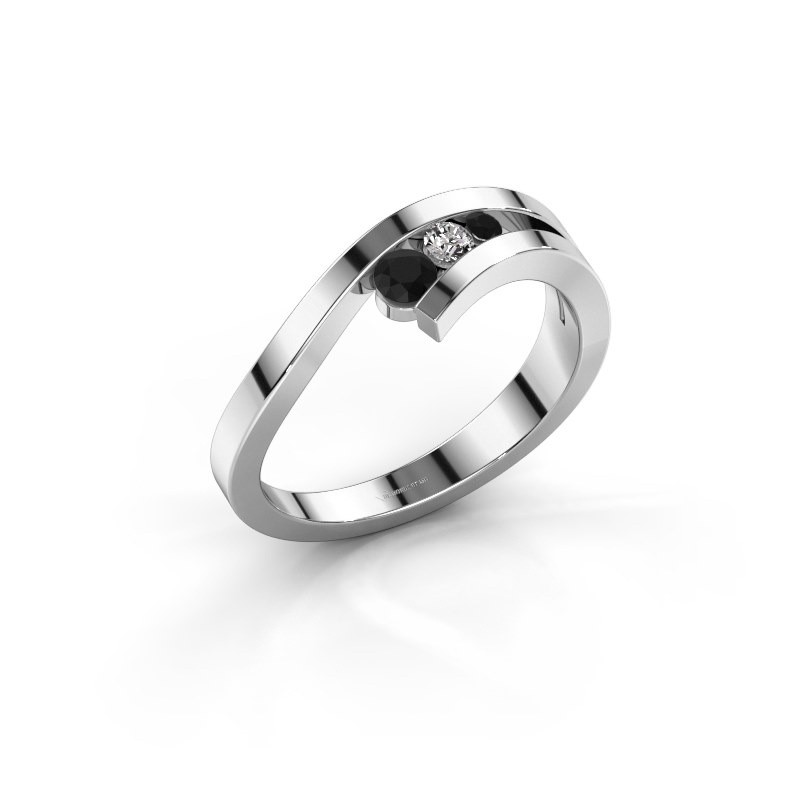 Ring Evalyn 2 585 witgoud zwarte diamant 0.182 crt