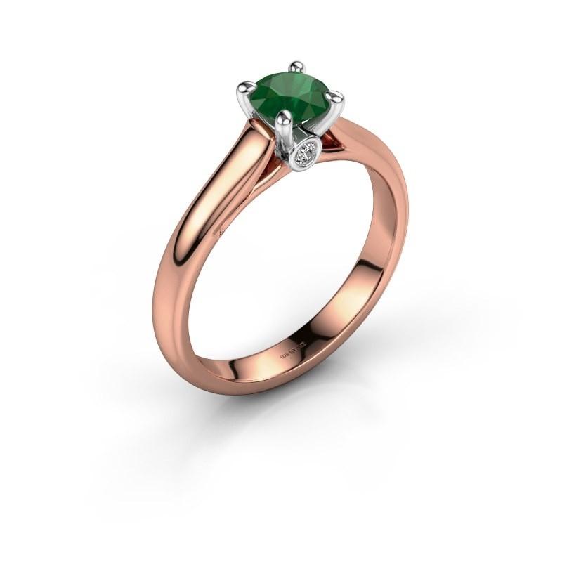 Verlovingsring Valorie 1 585 rosé goud smaragd 5 mm