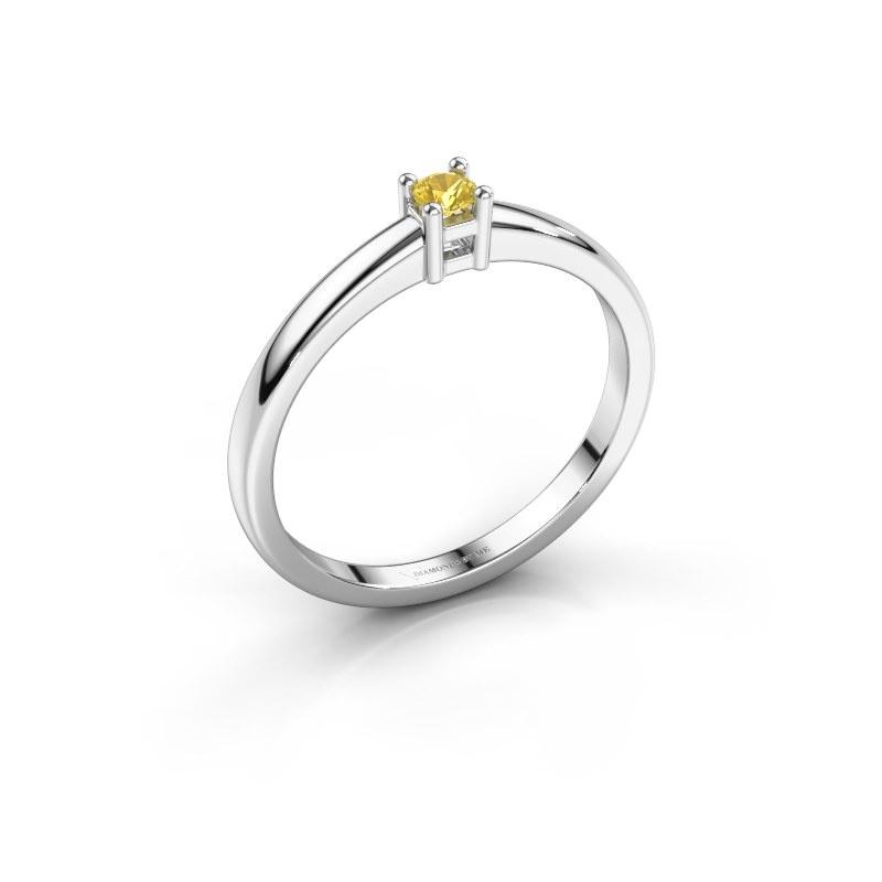 Promise ring Eline 1 585 witgoud gele saffier 3 mm