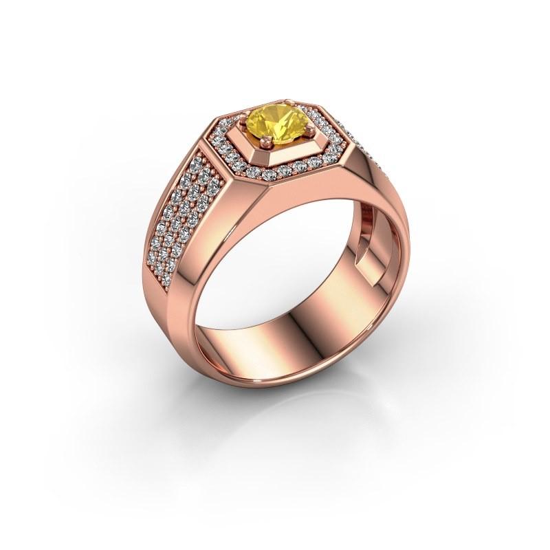 Heren ring Pavan 375 rosé goud gele saffier 5 mm