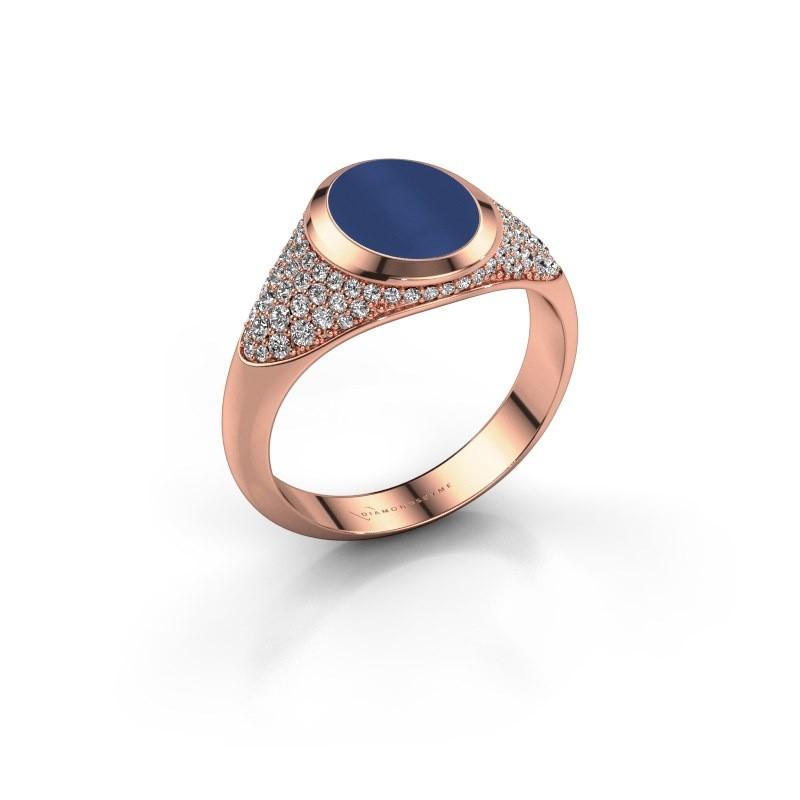 Signet ring Susana 375 rose gold lapis 10x8 mm