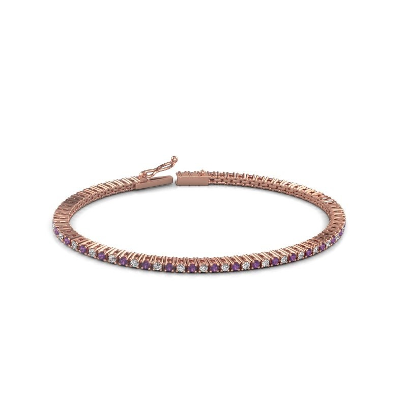 Tennis bracelet Simone 375 rose gold amethyst 2 mm