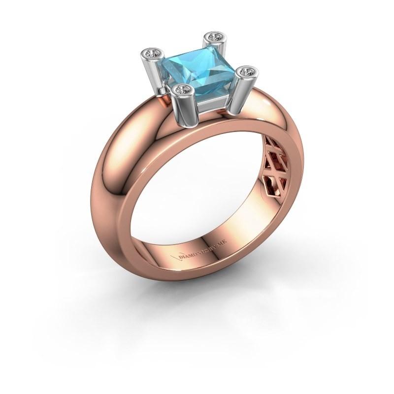 Ring Cornelia Square 585 Roségold Blau Topas 5 mm