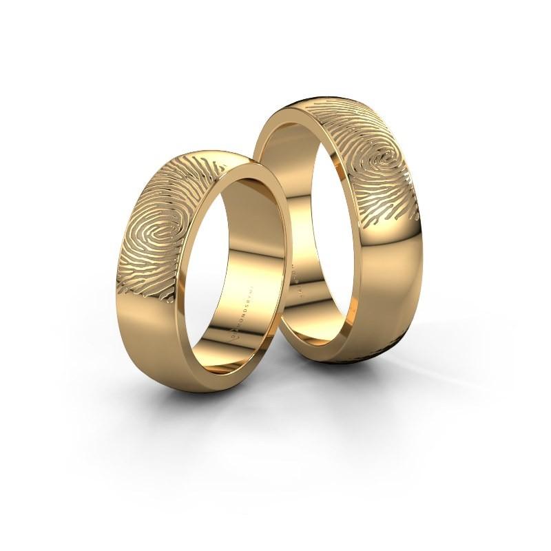 Wedding rings set WHR0420LM ±6x2 mm 14 Carat white gold