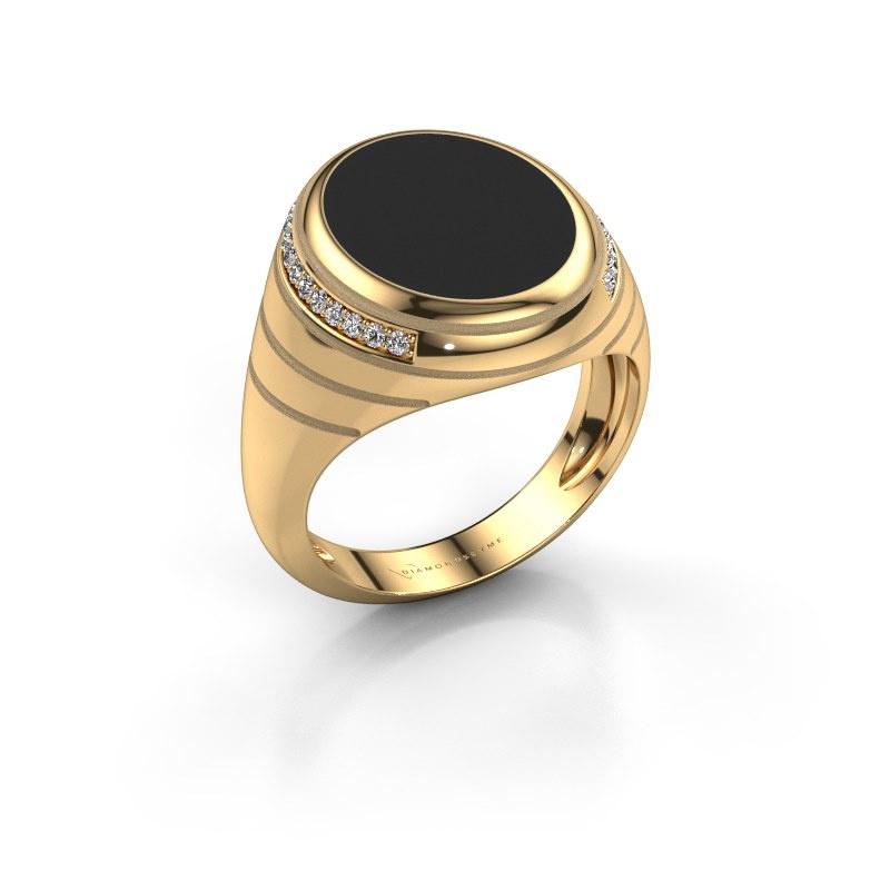 Zegelring Luuk 585 goud zwarte emaille 15x12 mm