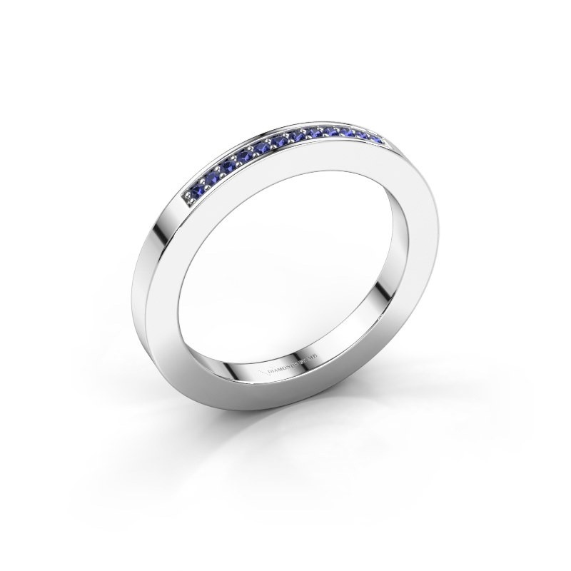 Stackable ring Loes 1 585 white gold sapphire 1.1 mm