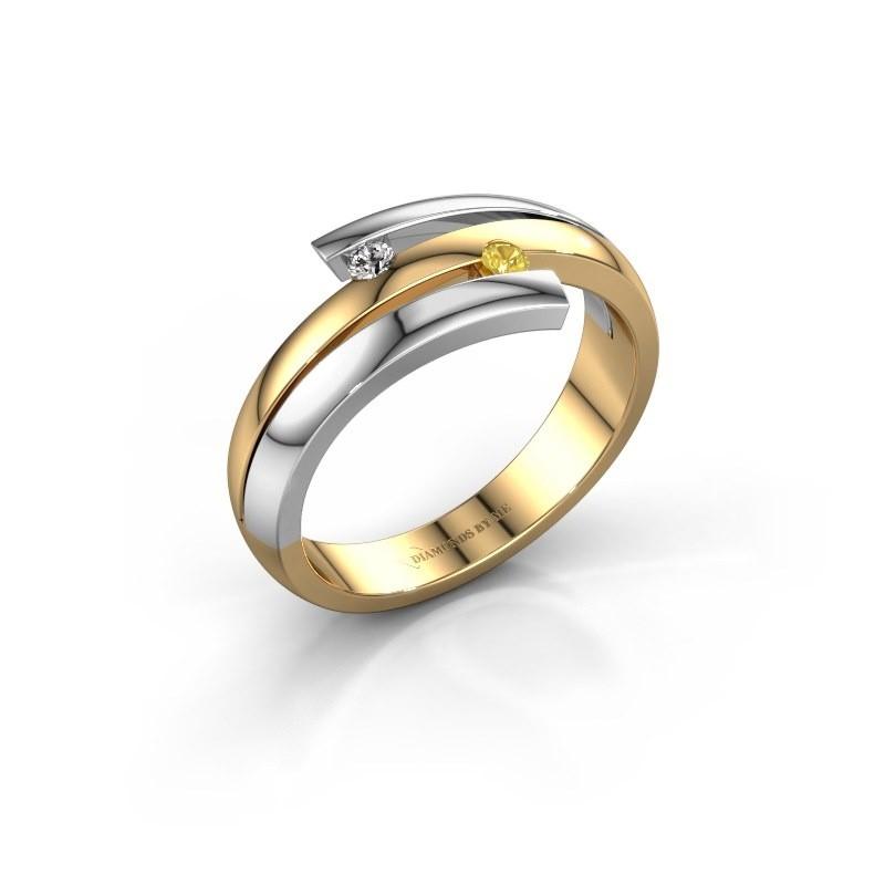 Ring Dena 585 goud gele saffier 2 mm