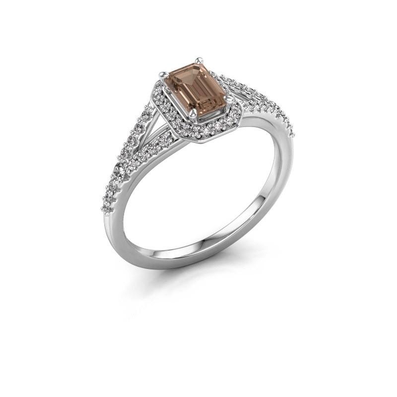 Bague de fiançailles Pamela EME 585 or blanc diamant brun 0.95 crt
