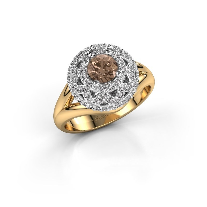 Ring Leonora 585 goud bruine diamant 0.88 crt