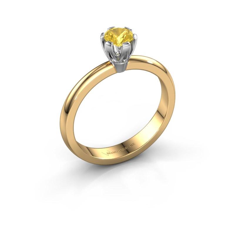 Verlovingsring Julia 585 goud gele saffier 4 mm