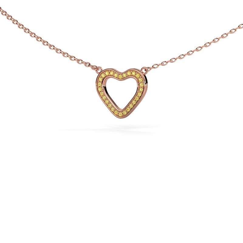 Hanger Heart 3 375 rosé goud gele saffier 0.8 mm